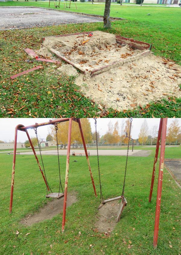 Apleistos vaikų žaidimų aikštelės kelia pavojų
